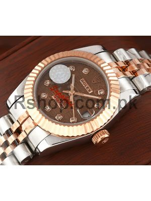 Rolex Lady Datejust Two Tone Brown Computer Dial Swiss Watch